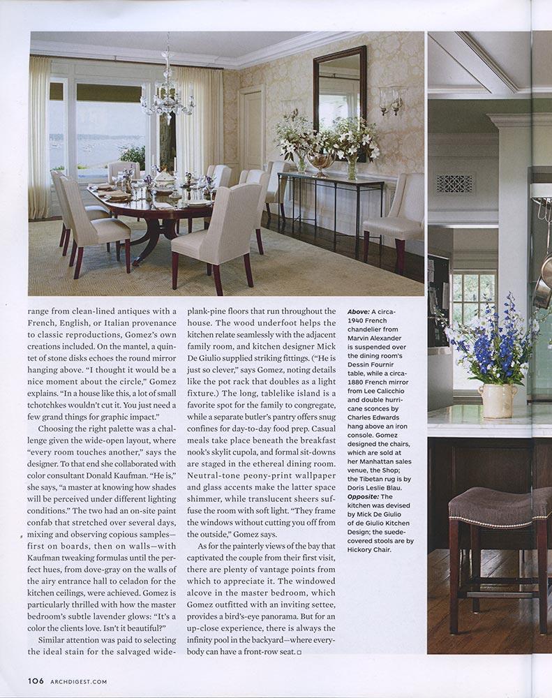 Gomez Associates featured on Architectural Digest, August 2012