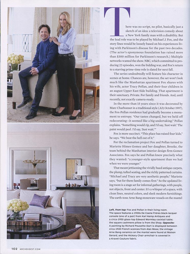 Gomez Associates featured on Architectural Digest, December 2012